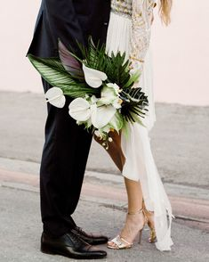 This Miami Wedding Proves That An Intimate Day Can Be Majorly Gorgeous Junebug Weddings Tropical Flowers, Tropical Wedding Bouquets, White Wedding Bouquets, Wedding Flower Arrangements, Bridal Bouquets, Tropical Weddings, Purple Bouquets, Flower Bouquets, Floral Arrangements