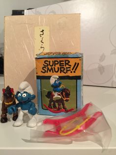 Excited to share the latest addition to my shop: Vintage Super Smurf - Rocking Horse Smurf MIP See Picture, Smurfs, Berries, Etsy Shop, Horses, Box, Prints, Pictures, Handmade