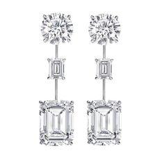 oh yes please.... Three-stone Drop Earrings (15.38 tcw) #harrywinston