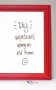 DIY Your Own Dry Erase Board – Pickled Barrel You are in the right place about Frame Crafts with vinyl Here we offer you the most beautiful pictures about the Frame Crafts jewelry you are looking for. Wipe Board, Dry Erase Board, Dry Erase Paint, Frame Crafts, Diy Frame, Cute Scrapbooks, Old Frames, Dry Erase Markers, Mason Jar Crafts