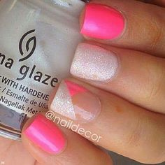 Pink with white glitter. #nails