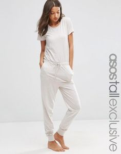 f3220181971a ASOS TALL Lounge Jumpsuit In Marl Short Sleeve ( 39) ❤ liked on Polyvore  featuring