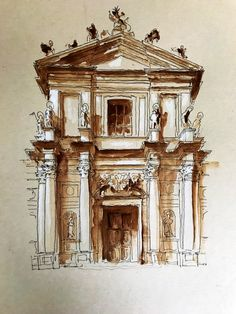 Original watercolour study of Baroque facade of Santa Maria Assunta also called Gesuiti church - Venice, Italy