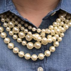 J. Crew Factory Pearls and Chambray
