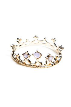 Princess Ring, Gold ring in the shape of a crown with lavender gems.  Gold  ALL intimates, swimwear, jewelry, hair accessories, bags, and scarves are FINAL SALE  [$5.00]