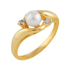10K Gold Ring with 5-6mm White freshwater pearl and 0.04CT diamonds