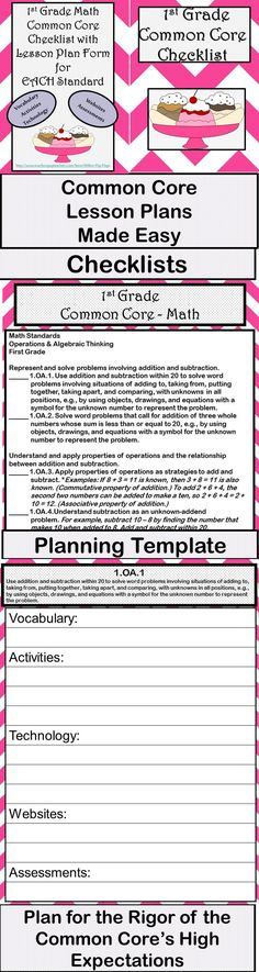 1St Grade Common Core Lesson Plan Template | Lesson Plan Templates