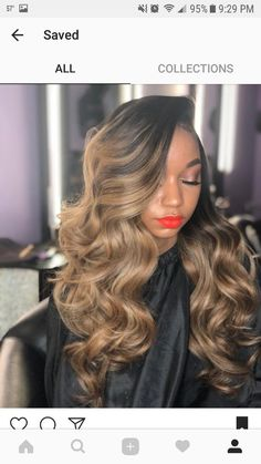 Beautiful long wavy hairstyles wigs for black women lace front wigs human hair wigs african american wigs buy now Hair Lights, Light Hair, Front Hair Styles, Curly Hair Styles, Hair Front, Cabelo Ombre Hair, Long Wavy Hair, Thin Hair, Lace Hair