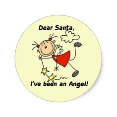Stick Figure Angel Dear Santa Tshirts and Gifts Sticker