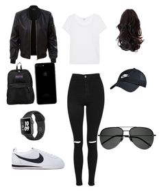 """""""cortez outfit"""" by gomezcassandra8 on Polyvore featuring Topshop, LE3NO, Splendid, JanSport, NIKE and Yves Saint Laurent"""