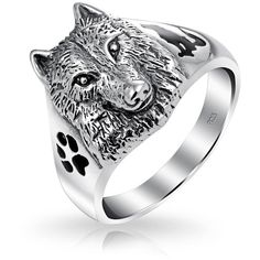 Bling Jewelry Sterling Wolf Head Black Animal Paw Print Howling... ($53) ❤ liked on Polyvore featuring jewelry, rings, theme jewelry, wolf jewelry, band jewelry, animal jewelry, animal rings and band rings