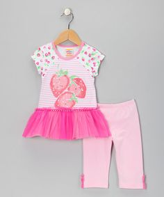 Take a look at this Pink Strawberry Ruffle Tunic & Leggings - Infant, Toddler & Girls by Sweet Potatoes on #zulily today!