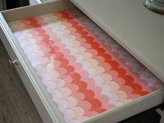 Easy way to turn wrapping paper and fabric into pretty and duable drawer liners. The Creativity Exchange Lining Drawers, Diy Drawers, Wall Storage, Craft Storage, Storage Ideas, Diy Drawer Liners, Baby Room Diy, Baby Rooms, Diy Baby
