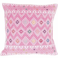 Hand-Embroidered Pink Pillow from Chiapas - Mexican Textile