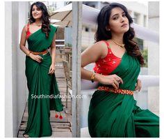 Pattu Saree Blouse Designs, Half Saree Designs, Fancy Blouse Designs, Red Blouse Saree, Dress Designs, Saree With Belt, Sarees For Girls, Saree Trends, Stylish Sarees