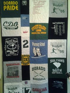 T shirt quilt, via Flickr.