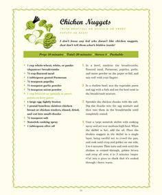 Chicken Nuggets (with broccoli or spinach or sweet potato or beet puree) Deceptively Delicious by Jessica Seinfeld