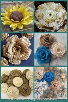 How to Make Rustic Burlap Flowers (Tutorial and Video)If you do not have time or know-how to do it yourself, an alternative to DIY is buy. Here are some different styles of rustic burlap flowers based on . Burlap Flowers, Diy Flowers, Fabric Flowers, Paper Flowers, Wedding Flowers, Burlap Projects, Burlap Crafts, Diy Crafts, Burlap Decorations