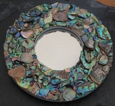 Explore Yvonne Young's photos on Photobucket. Seashell Art, Seashell Crafts, Paua Shell, Abalone Shell, Nature Crafts, Home Crafts, Mother Of Pearl Mirror, Mermaid Crafts, Mirror Mosaic