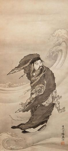 Chinese figure with demon on waves, ca. 1870s by Soga Shohaku