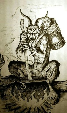 Krampus Ange Demon, Demon Art, Dark Fantasy Art, Dark Art, Tarot, Arte Punk, Totenkopf Tattoos, Satanic Art, Arte Obscura