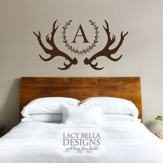 www.lacybella.com deer antler vinyl wall decal custom monogram laurel wreath home decor