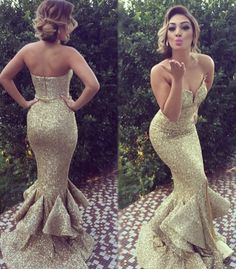 Mermaid prom dress, sequin prom dress, sexy prom dress, long prom dress, Gold prom dress, elegant prom dress