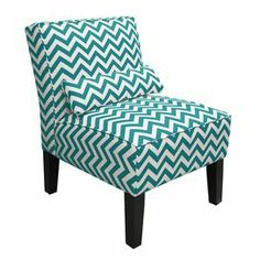 "Chevron slipper chair with a pine wood frame and foam cushioning. Handmade in the USA.  Product: ChairConstruction Material: Wood and fabricColor: Turquoise   Features:  Matching pillow included    Streamlined silhouette     Will enhance any décor      Dimensions: 30"" H x 25"" W x 32"" D  Note: Assembly required"