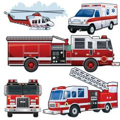 Fire Truck Vehicles Wall Decals ~Boys Room Wall Stickers