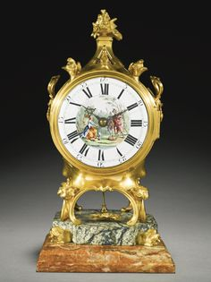 A George III ormolu and marble musical table clock, attributed to Stephen Rimbault, the dial painting attributed to Johan Zoffany, London, circa 1765 Sotheby's