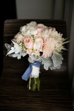 Rose, Peony and Dusty Miller Bridal Bouquet