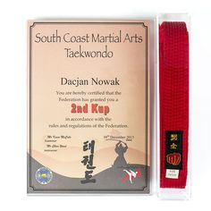 A wall mounting acrylic frame to display an A4 size certificate alongside a martial arts belts on one eye catching display. Made in clear acrylic throughout. A popular choice for achievers in Taekwondo, Karate, Judo and many more