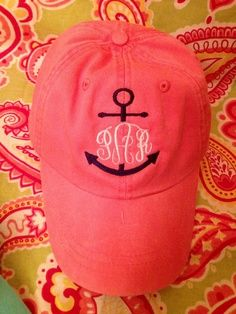 Ladies Monogrammed anchor baseball cap. Embroidered. Choose hat/threadâ?¦