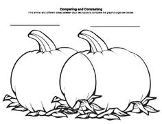 Compare/Contrast Pumpkin-Shaped Venn Diagram for Fall/Halloween FREE