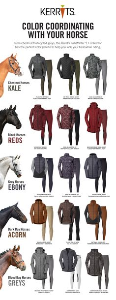 Color Coordinate with your horse! From Chestnut to Dapple greys, the Kerrits Fall/Winter '17 Collection has the perfect color palette to help you look your best while riding.