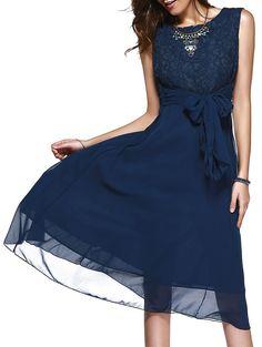 Lace Splicing Sleeveless Prom Dress