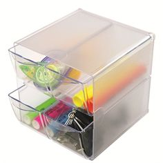 Deflecto Stackable Cube Organizer, 4 Drawers, Clear 4 Drawer Stackable Cube Organizer is great for organizing a variety of office supplies. Can personalize to work for you by removing dividers Plastic Organizer, Cube Organizer, Storage Room Organization, Cube Storage, Lego Storage, Cubes, Solution, Desk Accessories, Clip