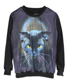 Cat Galaxy Pattern Scoop Neckline Sweatshirt