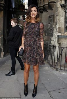 Stylish: Lucy Mecklenburgh, 25, stood out from the crowd as she made her way to the PPQ SS...