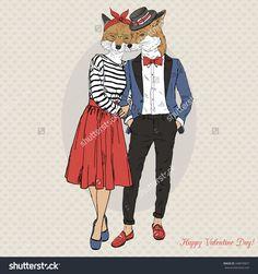 furry art illustration of hipster fox couple, Valentine Day design