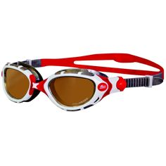 Wiggle | Zoggs Predator Flex Polarized Ultra Goggles - Red/White | Adult Swimming Goggles