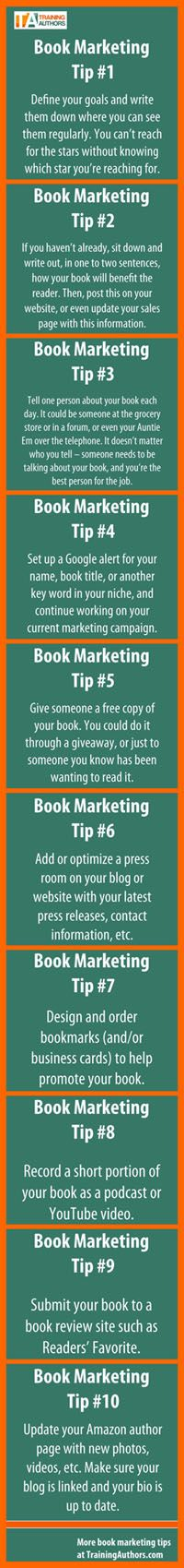 Need to promote a new book, product, website, idea, or service? Here are 10 book marketing tips that will help almost anyone marketing a product, service, or idea. #books #ebooks #marketing #authors #bookmarketingtips