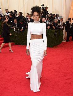 2017 Rihanna Celebrity Dresses Sheath High Collar Long Sleeves White Open Back Long Evening Dresses Red Carpet Dresses
