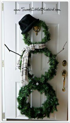 snowman door wreaths