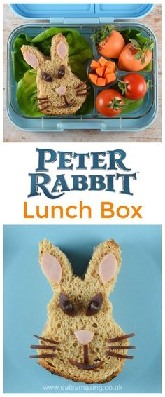 Peter Rabbit Themed Lunch Box with Peter Rabbit Sandwich - fun food for kids from Eats Amazing Food Art For Kids, Cooking With Kids, Healthy Kids, Healthy Recipes, Bento Recipes, Healthy Snacks, Bento Box, Lunch Box, Cute Food