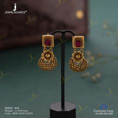 Live the moment with beautiful Earrings. Gold Jhumka Earrings, Jewelry Design Earrings, Gold Earrings Designs, Antique Earrings, Antique Jewellery, Jewelry Accessories, Gold Bangles Design, Gold Jewellery Design, Gold Jewelry Simple