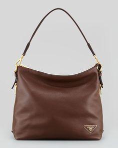 Daino Zip-Top Zip-Side Hobo Bag, Brown by Prada at Bergdorf Goodman.