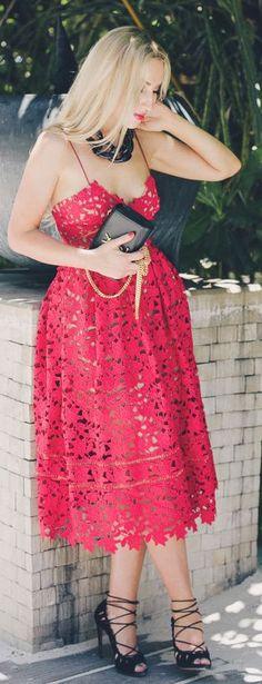 La Vie Su Paipllon Red Cutout Little Dress  women fashion outfit clothing style apparel @roressclothes closet ideas