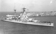 "HMS Royal Sovereign enters harbour at Malta between the wars.  The 'R' class battleships were never as highly regarded as the previous Queen Elizabeths, which were significantly faster, though both mounted 8 x 15"" guns."