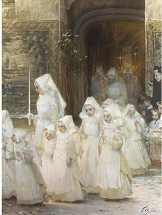 Henry Jules Jean Geoffroy, French painter Theory girls in the Procession of the Feast God (Hospital de Beaune. Catholic Art, Religious Art, Art Ancien, Bride Of Christ, Art Et Illustration, Classical Art, Blessed Mother, Sacred Art, Christian Art